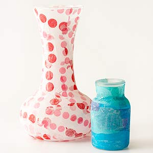 Vases decoupaged in decorative papers