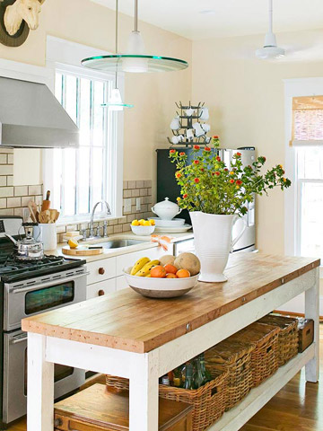 Salvaged Table Turned Kitchen Island
