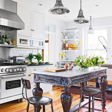 pretty old houses are farm tables the new kitchen island. Black Bedroom Furniture Sets. Home Design Ideas