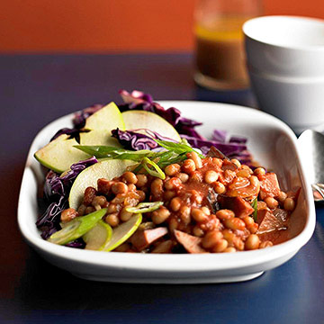 Baked Beans,  Ham and Green Apple-Cabbage Slaw