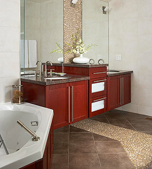 Tile and Pebble Flooring