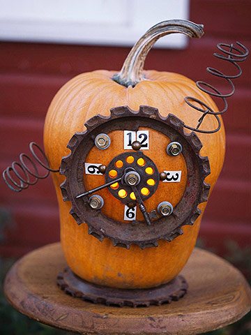 pumpkin decorated with junk