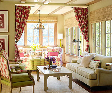 Tan and red cottage living room