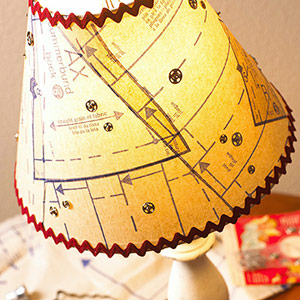 Lampshade with sewing patterns and rickrack