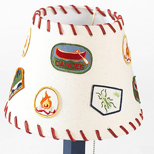 Lampshade with camping patches