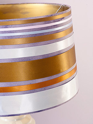 Lampshade with multicolor metallic ribbon stripes