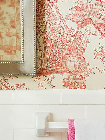 Detail of pink and white toile wallpaper