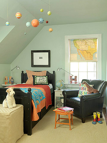Boy?s bedroom with planets