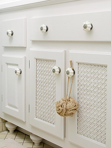 White vanity with door details