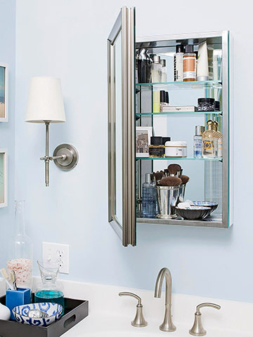 Nickel medicine cabinet on blue wall