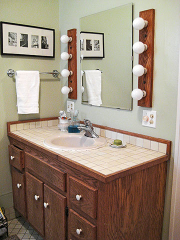 Before dark oak vanity