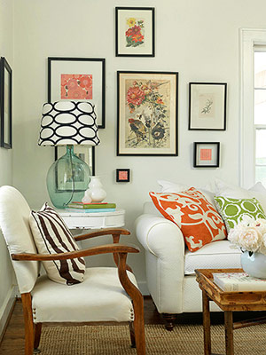 Living room white sofa, gallery wall art