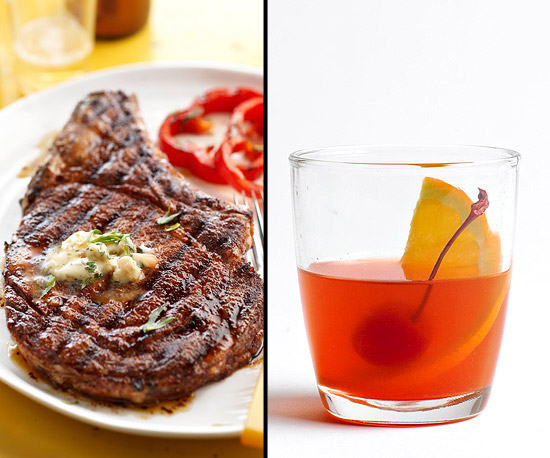 Three-Chile Cowboy Steak with Whiskey Butter, Whiskey Old Fashioned