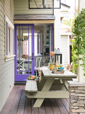 Patio dining, blue door home