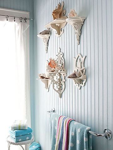 Bathroom seashell wall art
