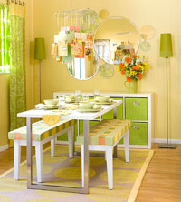 Yellow and green small  dining area