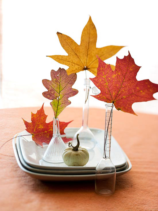 Fall leaves in small vases