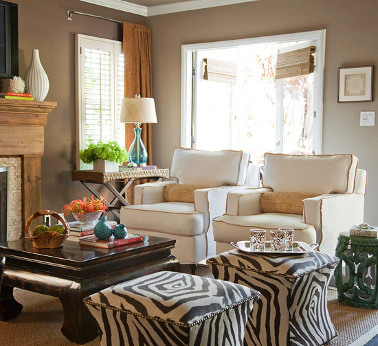 Small living room, zebra ottomans