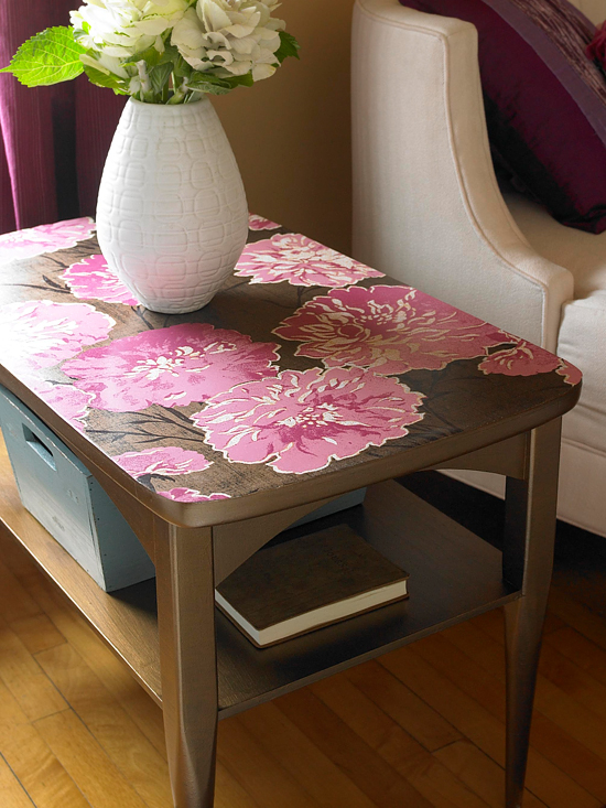 Brown table with pink floral table top