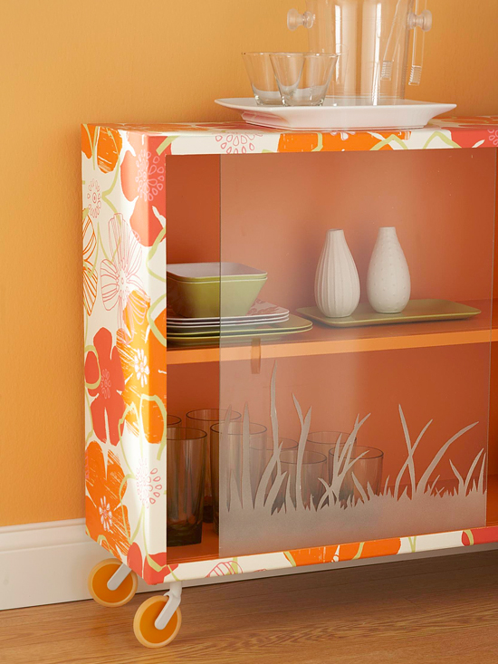 Orange and white rolling bookcase