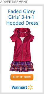 Faded Glory Girls' 3-in-1 Hooded Dress