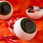 3 Eyeball Candy Holders filled with candy