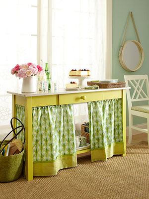 Yellow console table with curtain