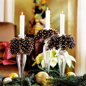 Pinecones on candlesticks