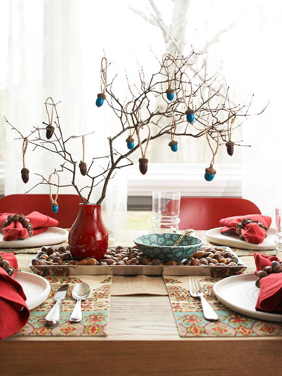 Acorn Ornament Tree Centerpiece