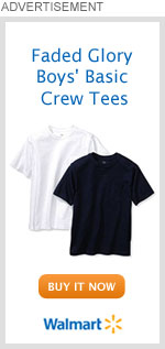 Faded Glory Boys' Basic Crew Tees