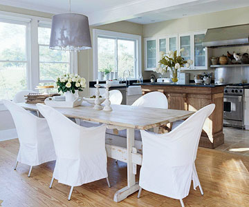 Kitchen table with slipcovered chairs