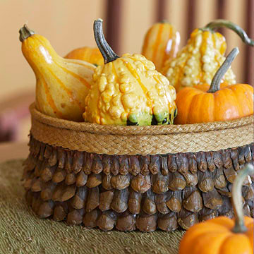 Bowl filed with gourds and fruit