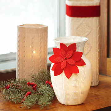 Holiday sweater candleholders