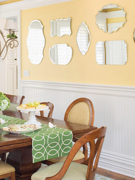 Green and yellow dining room