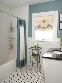 Blue bathroom with pattern floor tiles