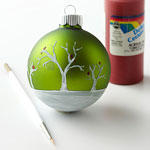 Snowy Scene Painted Christmas Ornament