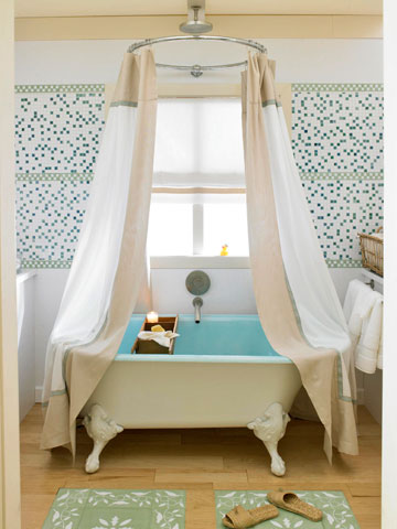 Hang Your Curtain Rod Near The Ceiling U2013 Make Sure The Curtain Brushes The  Floor. You Can Use A Curtain Panel Instead Of A Traditional Shower Curtain  Or ...