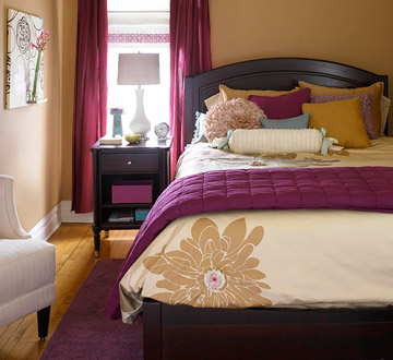 Plum and sand bedroom