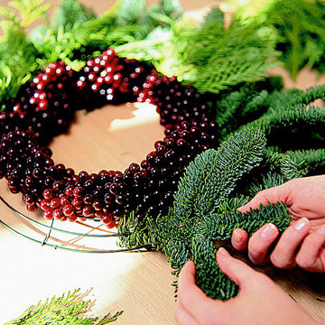 Evergreen & Grape Wreath How-To