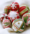 Variety of felt-covered Christmas ornaments