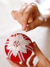 Pinning the star to the ornament