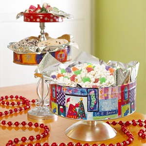 Old Christmas Tins as Serving Pieces