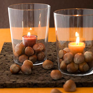 Nut and glass candle votives