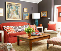 Gray living room red sofa