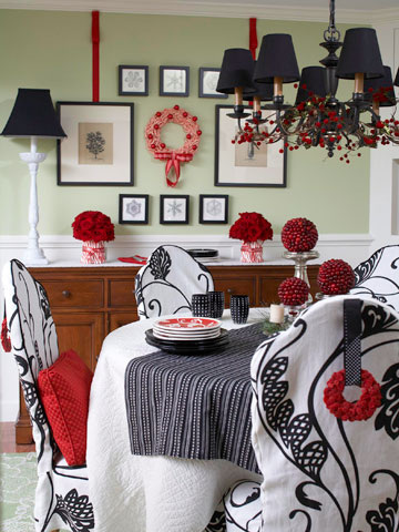Black white and red dining room