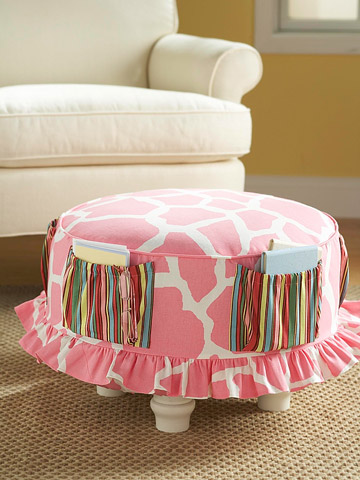 Ottoman with fabric cover