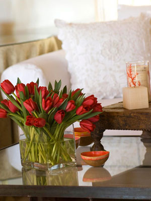 Red Tulips in living room