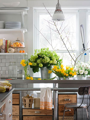 Kitchen island with flowers