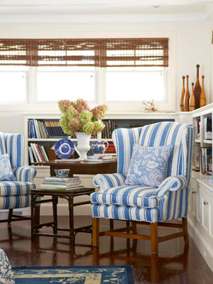 Blue Strip Wing Chair