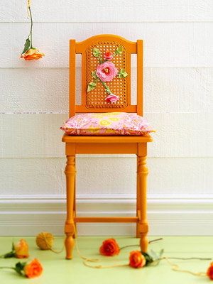 Cane-back chair makeover